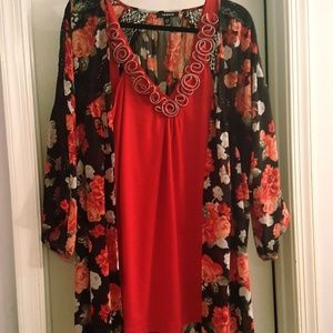TORRID Red Tank Embellished with Zipper Roses